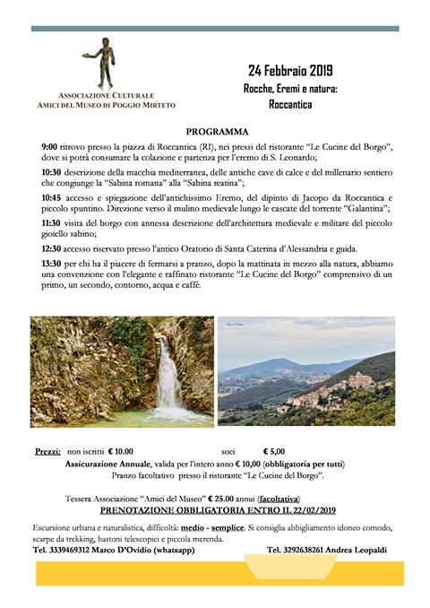 Rocche, Eremi e natura: passeggiata a Roccantica - eventi in sabina