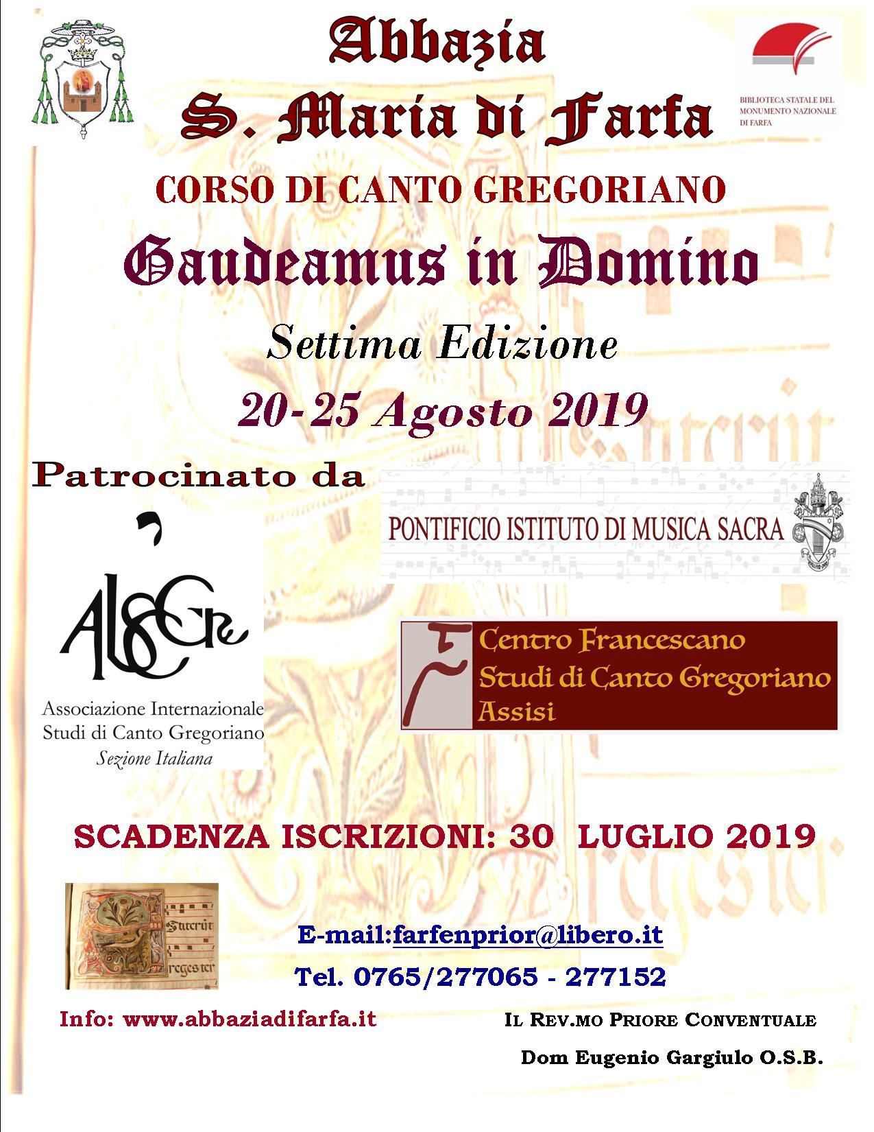 """Corso residenziale di canto gregoriano """"Gaudeamus in Domino"""" – 7^ edizione - eventi in sabina"""