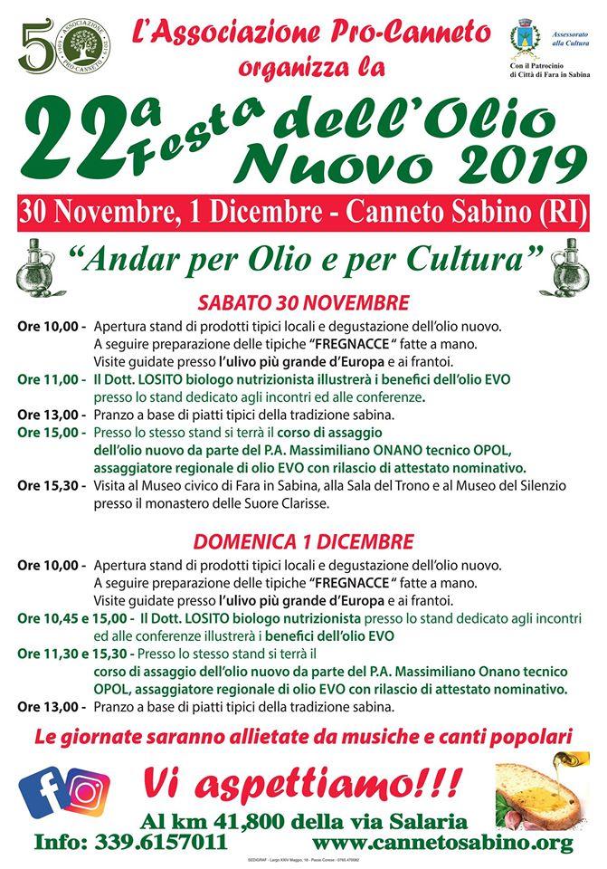 Andar per olio e per cultura – 22^ edizione - eventi in sabina