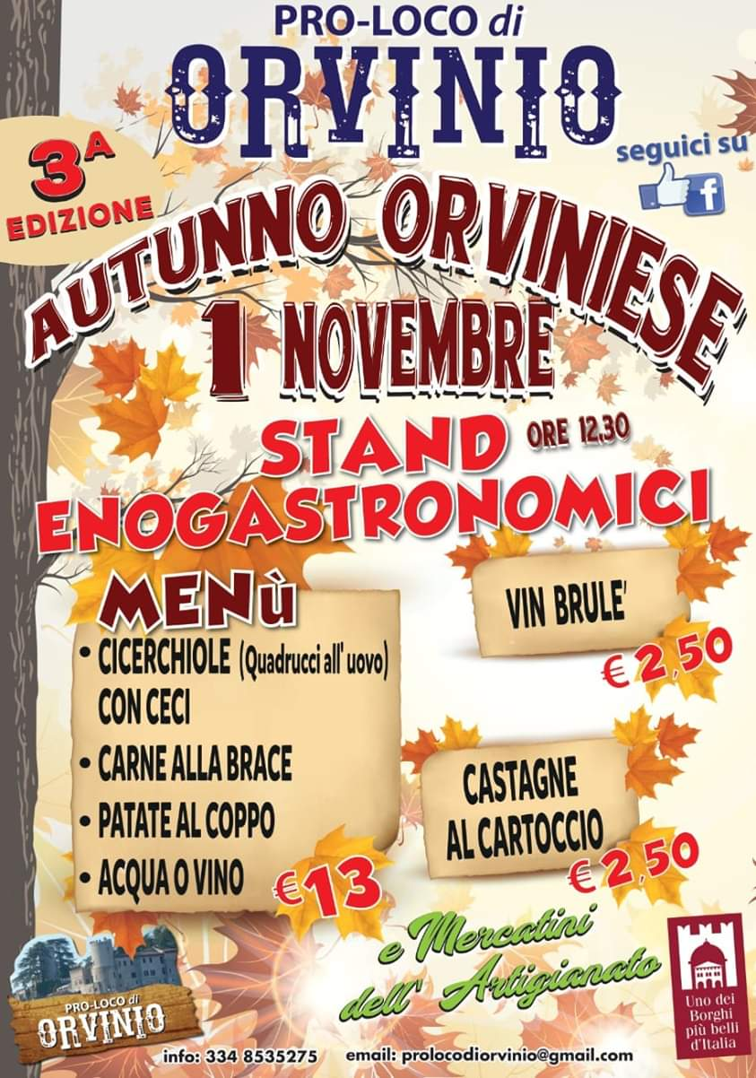 Autunno orviniese – 3^ edizione - eventi in sabina