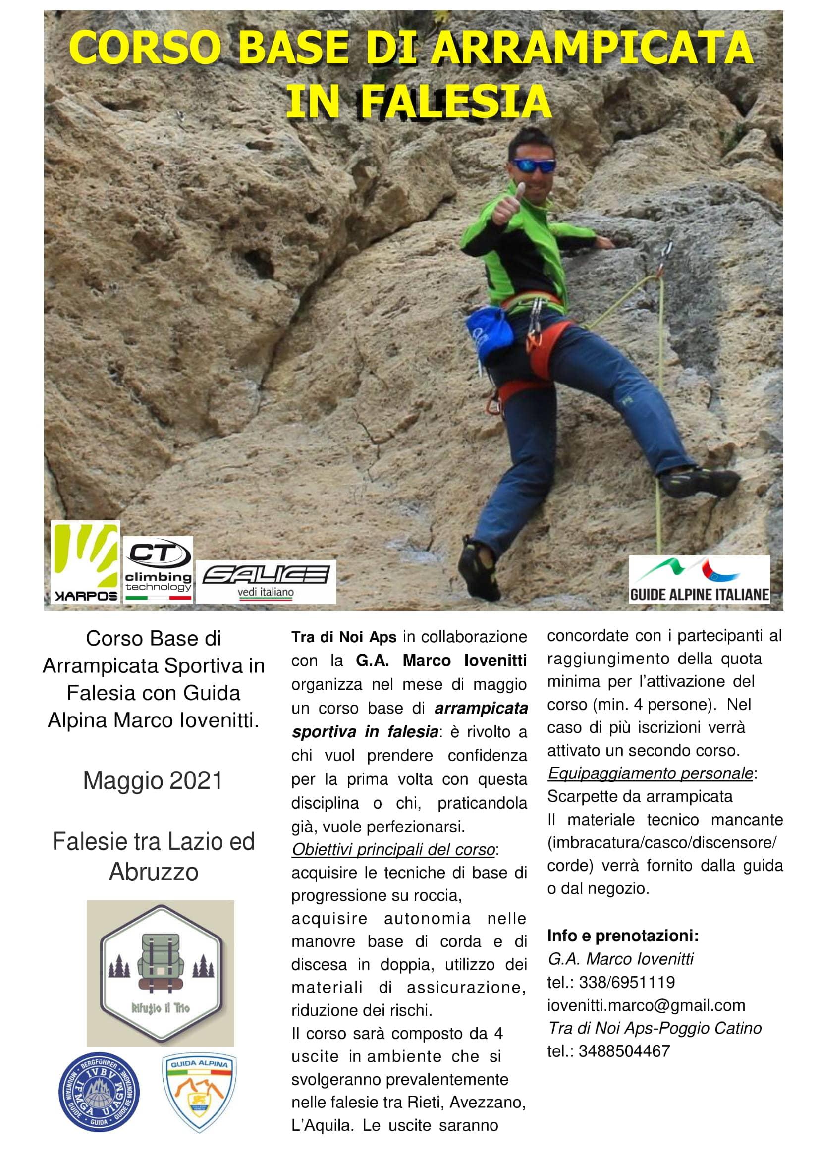 Corso di arrampicata sportiva in falesia tra Lazio e Abruzzo - eventi in sabina