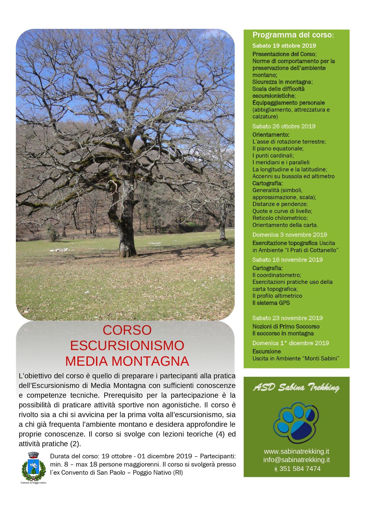 Corso escursionismo di media montagna - eventi in sabina