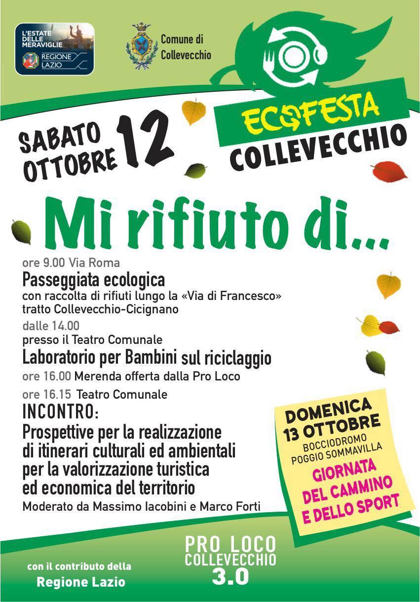 Mi rifiuto di… Ecofesta a Collevecchio - eventi in sabina