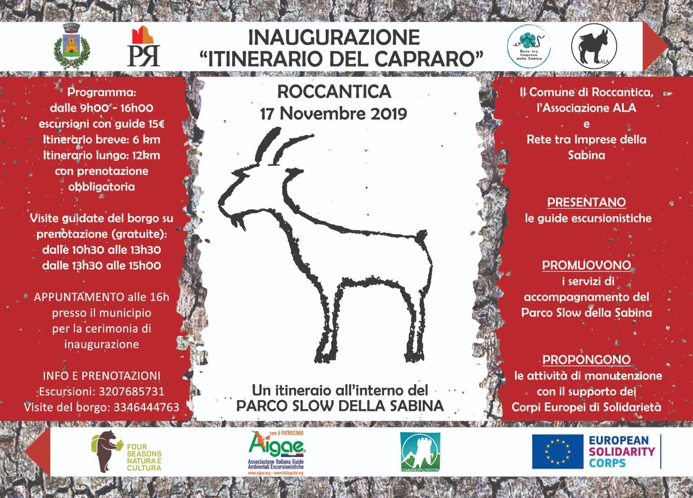 Itinerario del Capraro - eventi in sabina