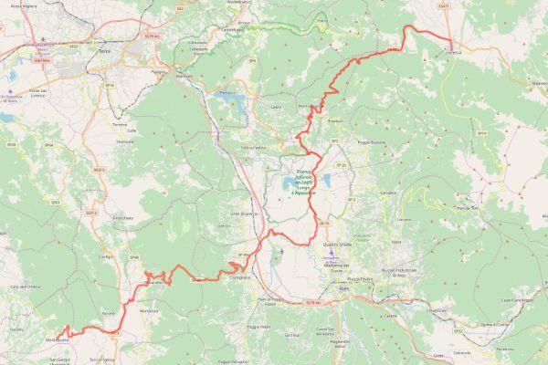 mappa della sabina cammino dei bianchi montebuono leonessa