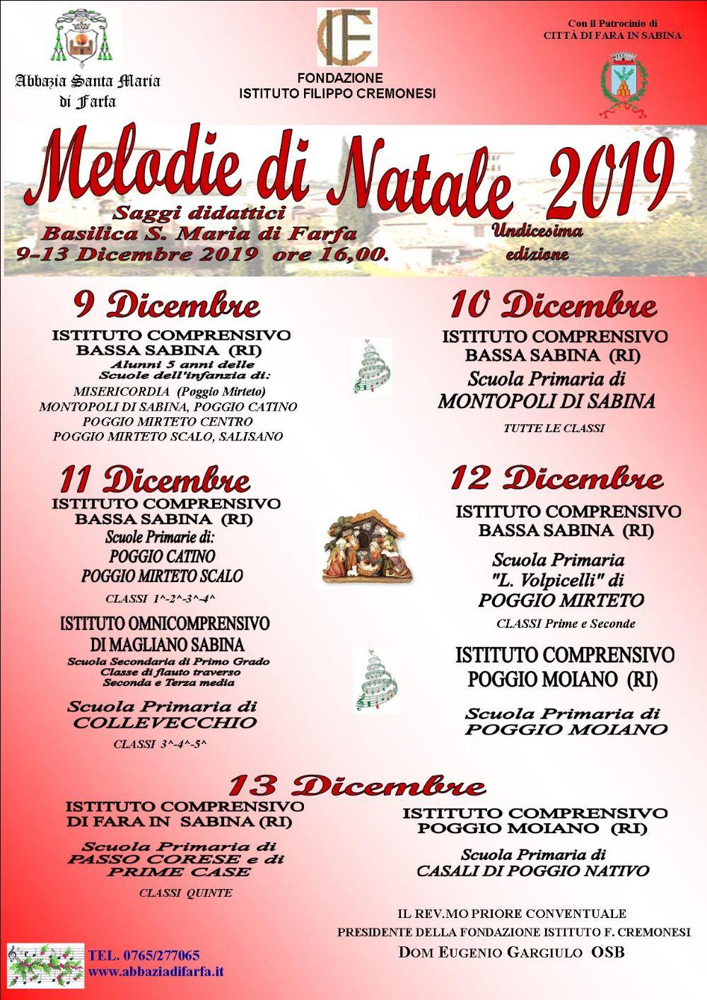 Melodie di Natale 2019 – 11^ edizione - eventi in sabina