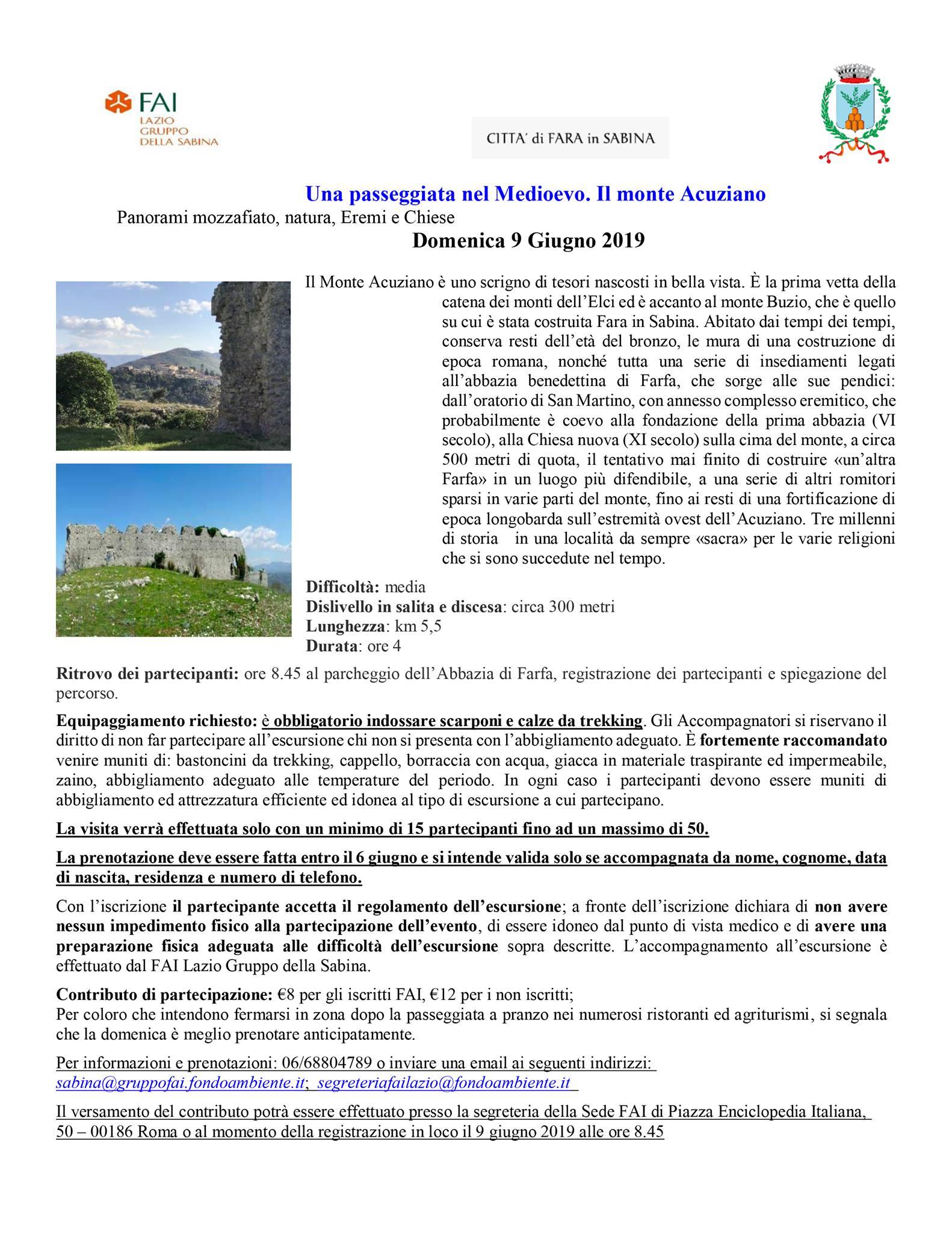 Una passeggiata nel Medioevo: il Monte Acuziano con il gruppo FAI Sabina - eventi in sabina
