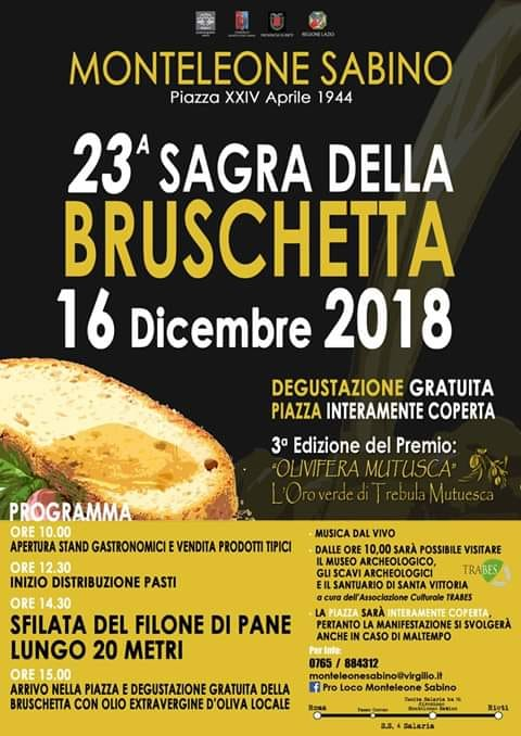 Sagra della Bruschetta – 23^ edizione - eventi in sabina