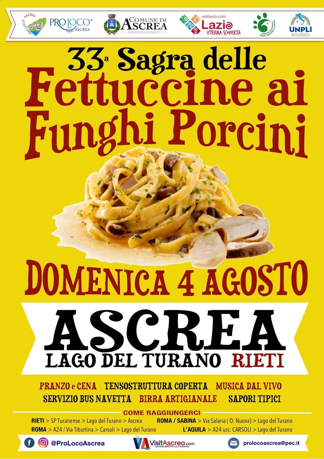 Sagra delle Fettuccine ai Funghi Porcini – 33^ edizione - eventi in sabina